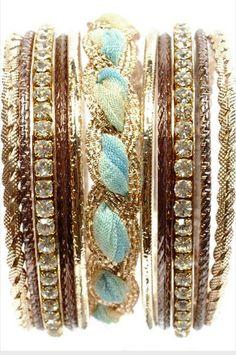 Ombre Aqua Ribbon Crystal & Gold Bracelets