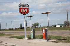 """Route 66 - Rusty gas pumps at an abandoned Phillips 66 station on old Rt. 66 in Adrian, Texas. """"The Fine Art Photography of Frank Romeo."""""""