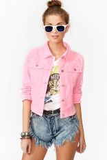 Neon Denim Jacket - Pink