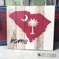 South Carolina Gamecock Home - Wooden SIgn  This sign is hand painted on reclaimed wood. Due to the nature of wood each sign may look slightly