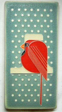 "Motawi Art Tile COOL CARDINAL 4"" X 8""  CHARLEY HARPER Mid-Century Modern"
