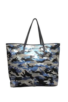 """Lightweight metallic blue camouflage printed tote with metallic button closure. Nylon interior with attached zippered pouch, two small pockets, and one zippered compartment.    Measurements: 11.5"""" x 16"""" x 13.5"""" x 7"""" D; 9"""" Strap Drop   Metallic Camo Tote by Sondra Roberts. Bags - Totes New York"""