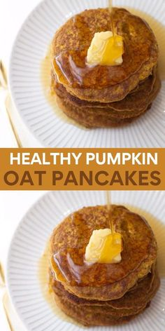 These EASY pumpkin oatmeal pancakes are made with ground up oats instead of flour! You can use gluten-free oats if needed. These pancakes are spiced, wholesome and perfect for cool fall mornings!