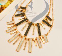 New Brand Design Enamel Bib Beads Scrub Plated Gold Chain Choker Necklace & Pendants Fashion Jewelry Women