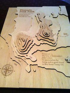laser cut wood topo map