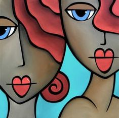 Sister Act - Original Abstract painting Modern pop Art Contemporary large Portrait cubist colorful FACE by Fidostudio Abstract Faces, Abstract Art, Abstract Paintings, Pop Art, Art Et Design, Arte Pop, Art Abstrait, Art Portfolio, Face Art