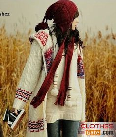 This looks comfy Women College style fashion hooded double-sided straw cardigan sweater