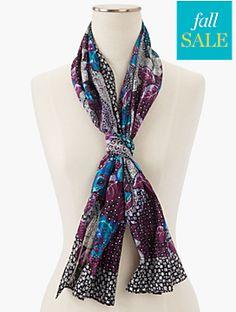 Flower & Paisley Silk Scarf