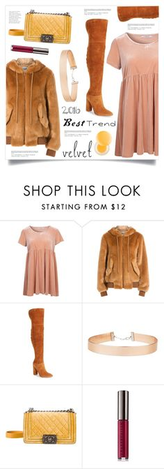 """""""Best Trend 2016"""" by marina-volaric ❤ liked on Polyvore featuring Glamorous, Moschino, Marc Fisher LTD, Miss Selfridge, Chanel, Chantecaille, It's skin, velvet, choker and OverTheKneeBoots"""