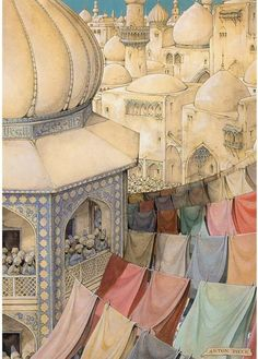 Parties Illustration Description 1001 Arabian Nights by Anton Pieck (Dutch Illustrator – Read More – Anton Pieck, Dutch Painters, Dutch Artists, Arabian Nights, Children's Book Illustration, Book Illustrations, Botanical Illustration, Figure Painting, Islamic Art