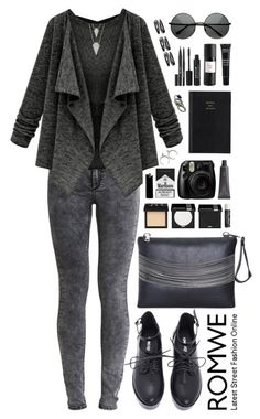 """Romwe 10"" by scarlett-morwenna ❤ liked on Polyvore featuring VILA, NARS Cosmetics, MAKE UP FOR EVER, Chapstick, Bite, Prada, Eight & Bob, Stila and vintage"