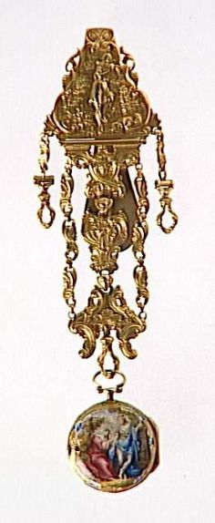 Louvre OA8028, a gold and silver and enameled watch and chatelaine, France, 1770