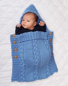 Snuggle baby in this warm cozy bag. Shown in (643) Light Denim or choose any Starlette yarn color. Buttons sold separately below.