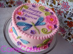 """Birthday Cake Photos - 8"""" round iced in BC with MMF decorations- the dragonflies' wings had royal icing piping on the fondant for added detail"""