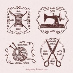 Set de insignias de costura vintage dibujadas a mano  Vector Gratis
