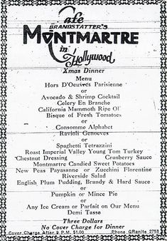 Montmartre in Hollywood - 1920's menu Great website for old menu's!