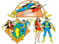Mary Marvel and Captain Marvel, Jr. by José Luis García-López from the 1982 DC Comics Style Guide Captain Marvel Shazam, Mary Marvel, Original Captain Marvel, Marvel E Dc, Comic Book Artists, Comic Books Art, Gi Joe, Ride Captain Ride, Dr Fate