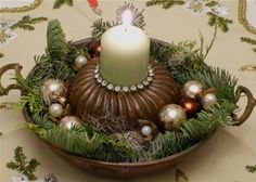 vintage cake tin and egg pan upcycled advent decoration