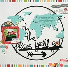 Travel Scrapbook Pages Simple Stories 42 Super Ideas Scrapbook Da Disney, Travel Scrapbook Pages, Vacation Scrapbook, Scrapbook Paper Crafts, Scrapbook Cards, Scrapbook Journal, Scrapbook Sketches, Scrapbook Page Layouts, Graduation Scrapbook