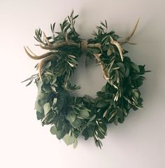 add antlers to a simple wreath for an understated winter look