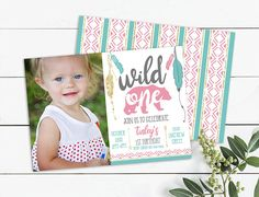 Picture Invitations, Photo Birthday Invitations, Girl First Birthday, Wild Ones, First Photo, Gold Glitter, Pink And Gold, First Birthdays, Boho Fashion