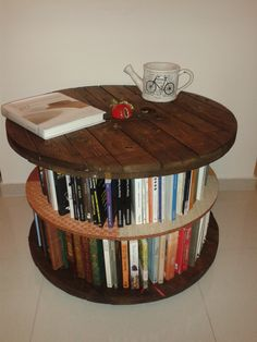CABLE SPOOL BOOKSHELF