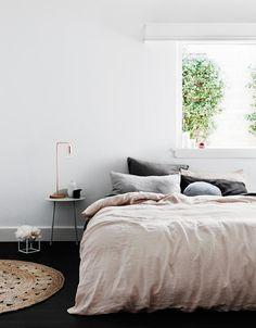 Blush Duvet Cover, Smoke Grey and Black Pillowcase Set