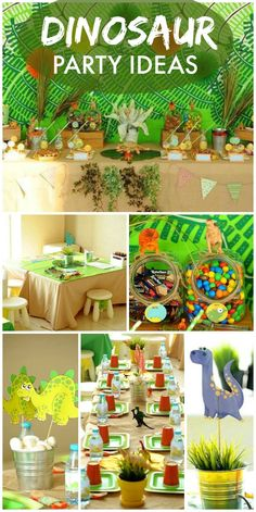 This dinosaur boy birthday party features an amazing backdrop, party activities and fun favors! See more party ideas at CatchMyParty.com! 2642 191 1 Catch My Party Dinosaur Party Ideas Silvi Dewi Awesome!