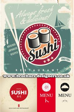 sushi graphics suitable for sushi restaurant menu design www.brochure-designers.co.uk #sushi #sushimenu #japanesegraphics