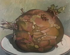"""Red Potato with Growths, Oil paint on canvas, 24"""" × 30"""" by Mark Granlund"""