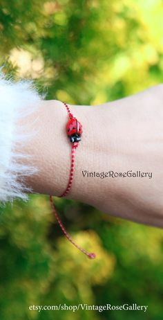Items similar to Ladybug March Bracelet Spring MARTIS Greek Bracelet, Martisor Bracelet, Martaki, Ladybug Bracelet, Best Friend Gift by VintageRoseGallery on Etsy Spring Sign, Cute Bracelets, Vintage Roses, As You Like, Gifts For Friends, Ladybug, Boho Chic, Most Beautiful, Jewellery