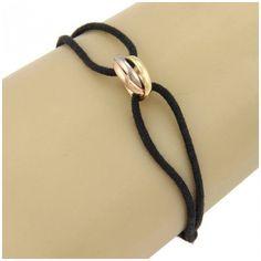 Pre-owned Cartier 18K Tri Color Gold Trinity Rolling Ring Bracelet... ($450) ❤ liked on Polyvore featuring jewelry, bracelets, 18k bracelet, adjustable cord bracelet, 18 karat gold bracelet, black gold bracelet and wide gold bracelet