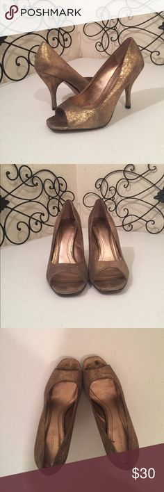 """BCBGeneration Suede Tan & Gold Heels GREAT CONDITION. A beautiful distressed look of gold metallic on tan suede leather, square open toe with covered 4.5"""" heel. Measurement from toe to heel 9 1/4."""" Expand photos to see details. Please check out the rest of the Posh Boutique Outlet!💎 BCBGeneration Shoes Heels"""