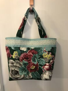 Handmade vintage 1940s turquoise/green nubby barkcloth burlap & crochet tote by Linensandlooms on Etsy