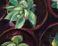 Succulents is an original painting by Lancaster artist Kim Smith which was inspired by a walk through Lancaster Central Market.