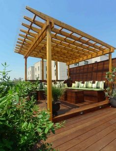 There are lots of pergola designs for you to choose from. You can choose the design based on various factors. First of all you have to decide where you are going to have your pergola and how much shade you want. Metal Pergola, Deck With Pergola, Wooden Pergola, Outdoor Pergola, Covered Pergola, Pergola Plans, Diy Pergola, Pergola Kits, Outdoor Rooms