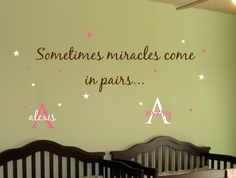 """Sometimes miracles come in pairs""  Baby TWINS Wall Decal Saying AND Name Initial Stars.. Girl Boy Nursery Vinyl Sticker Decor"