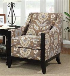 Contemporary Multi Leaf Pattern Accent Chair