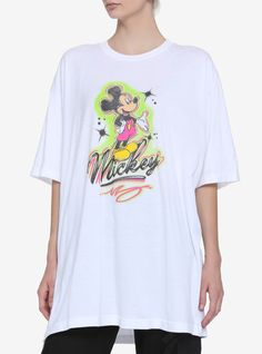 Disney Mickey Mouse Airbrush Art Oversized Girls T-Shirt, MULTI