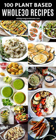 A delicious collection of plant based Whole30 recipes where vegetables are the star of the dish! Includes vegetarian and vegan dishes that are grain free and refined sugar free. #paleo #vegan #whole30 #plantbased #vegetarian Whole 30 Snacks, Whole 30 Recipes, Dairy Free Recipes, Healthy Recipes, Breakfast Recipes, Dinner Recipes, Whole 30 Breakfast, Vegan Dishes, Grain Free