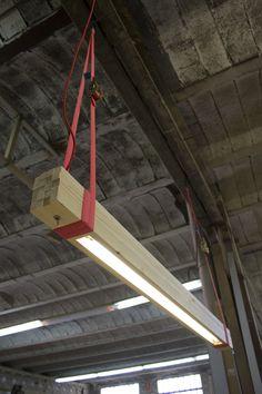 use the ceiling ROUGH wood strips - Wood Lamps - iD Lights Interior Lighting, Lighting Design, Shop Lighting, Lighting Ideas, Garage Lighting, Design Wood, Woodworking Plans, Woodworking Projects, Woodworking Beginner