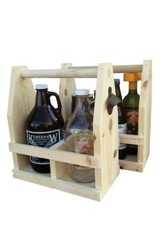 Unfinished Raw Wood #Beer Growler Carrier 64oz, Personalized Beer Caddy, #DIY Stain it Yourself Tote