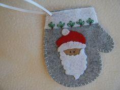 Gray Santa Felt Christmas Mitten by KraftyGrannysHome on Etsy, $5.50