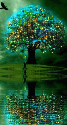 Magical tree in reflective water.