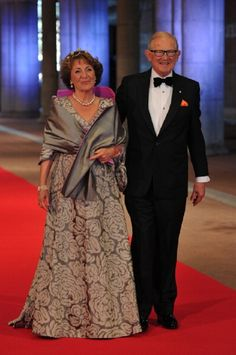 Princess Margriet of the Netherlands (L) and her husband Professor Pieter van Vollenhoven arrives for the Netherlands Royal dinner on 29 April 2013 in Amsterdam