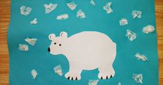 I love arctic animal crafts. Here's a simple polar bear that's great for preschool. Materials: sheet of light blue construct...