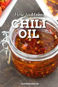 Chili Oil Recipe This easy homemade chili oil makes a great gift and can be made in minutes. Top your eggs or spice up your soups with this delectable condiment. Hot Sauce Recipes, Chili Recipes, Asian Recipes, Keto Recipes, Homemade Seasonings, Homemade Sauce, Homemade Chili Seasoning, Easy Homemade Chili, Homemade Food