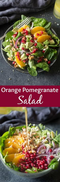 Orange Pomegranate Salad ~ the perfect easy holiday side dish, layered with sweet pomegranate arils, avocados, fresh oranges, thinly sliced onions, toasted walnuts and feta cheese...the perfect crunch and sweetness to accompany any dinner! | Tastes Better From Scratch