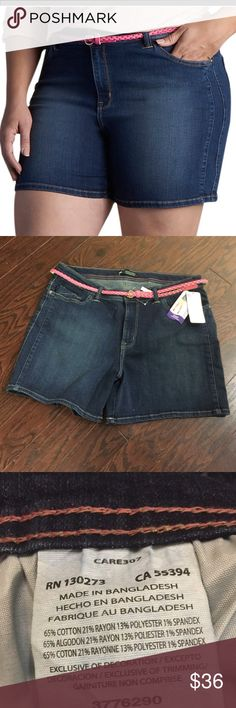 Plus Size LEE Twila Modern Belted Jean Shorts For a cute and casual look, pair these women's Lee jean shorts with your favorite peasant top or blouse. Dark Wash. 22W Regular Fit.   PRODUCT FEATURES •Stretchy denim construction •Coordinating belt •5-pocket FIT & SIZING •5-in. inseam •Midrise sits above the hip •Modern fit •Zipper fly FABRIC & CARE •Cotton, rayon, polyester, spandex •Machine wash •Imported Lee Shorts Jean Shorts