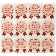 Pegatina Handmade Insignia, stickers para decorar regalos, ideal para artesanos, blister de 12 pegatinas. #DIY